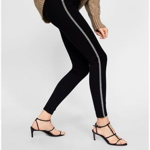Zara Legging with Silver Crystal Side Taping